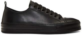 Ann Demeulemeester Black Leather Oil Sneakers