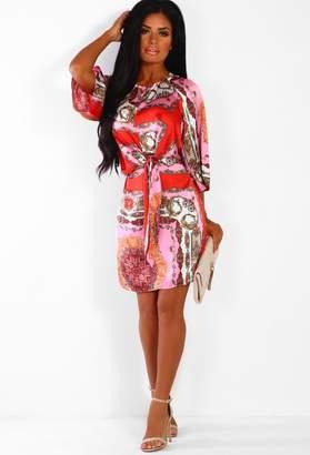 821b6c05fb Pink Boutique Kissing You Pink Multi Print Tie Front Satin Mini Dress