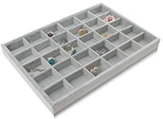 BOCAR Grey Velvet 30 Compartment Jewelry Display Showcase Organizer Holder for Necklace Bracelet Ring Earring (GP-30G)