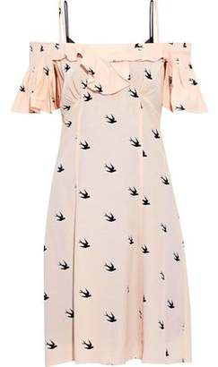 McQ Cold-shoulder Ruffled Printed Crepe De Chine Dress