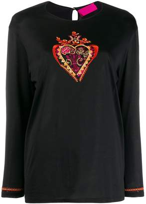Christian Lacroix Pre-Owned embroidered heart t-shirt