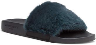Givenchy Dark Green Mink Slide Sandal