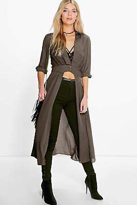 boohoo NEW Womens Plunge Neck Split Maxi Shirt in Polyester