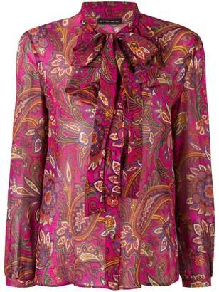 Etro ruffled neck printed blouse