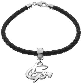 """Insignia Collection Sterling Silver & Leather """"I Love My Cop"""" Bracelet"""