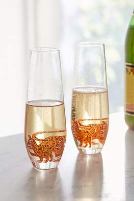 Urban Outfitters Tiger Stemless Champagne Flute – Set of 2