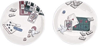 One Kings Lane Vintage Gien French Gaming Theme Plate - Set of 2