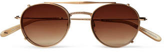 Garrett Leight California Optical Cloy 46 Round-Frame Gold-Tone Optical Glasses With Clip-On Uv Lenses