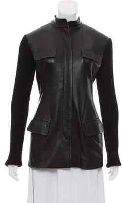 Donna Karan Wool-Paneled Leather Jacket