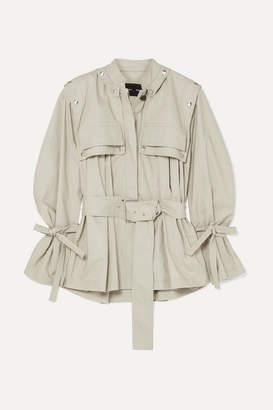 Proenza Schouler Belted Cotton-blend Gabardine Jacket - Stone