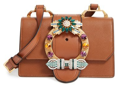 Miu MiuMiu Miu 'Small Madras' Crystal Embellished Leather Shoulder Bag - Brown