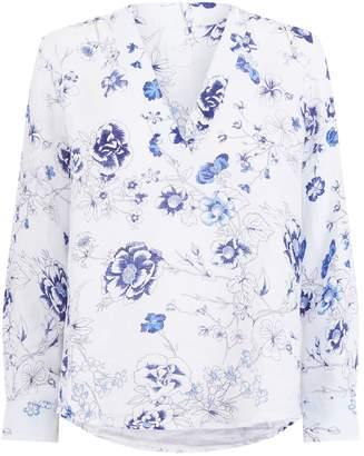 120% Lino 120 Lino Floral V-Neck Blouse