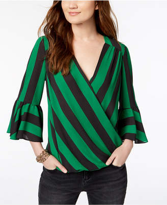 INC International Concepts I.N.C. Striped Surplice Bell-Sleeve Top, Created for Macy's
