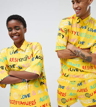Asos Design X Glaad& Shirt Co-Ord In Scribble Print