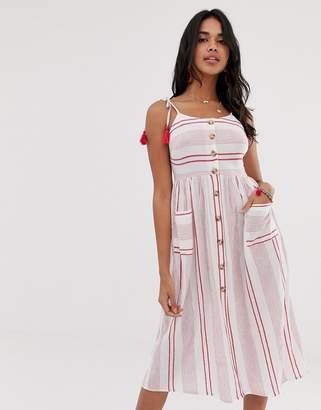 Accessorize Tie shoulder beach dress in red stripe
