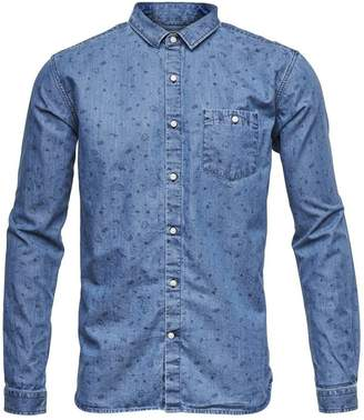 KNOWLEDGE COTTON APP Chambray Allover Print Shirt
