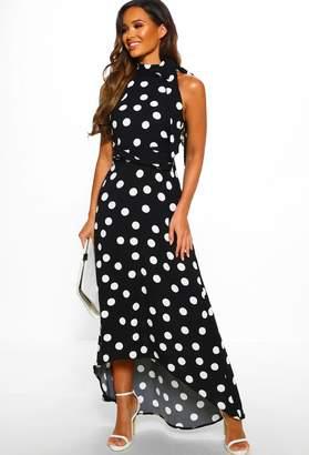 Pink Boutique Feeling Fabulous Monochrome Polka Dot High Neck Maxi Dress