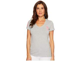 U.S. Polo Assn. V-Neck Short Sleeve T-Shirt with Big Pony and #3 Women's Short Sleeve Pullover