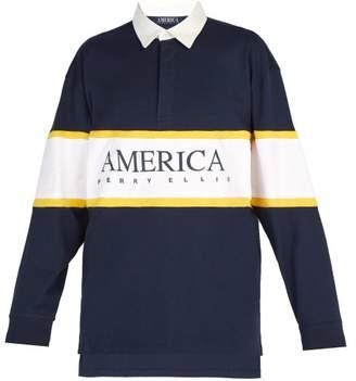 Perry Ellis Striped Logo Print Cotton Polo Shirt - Mens - Navy Multi