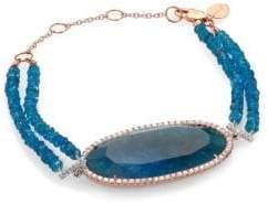 Meira T Apatite, Diamond& 14K Rose Gold Two-Row Beaded Bracelet