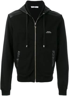 Versace two tone zipped hoodie