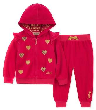 Juicy Couture Dark Pink Velour Hoodie & Pants Set (Baby Girls 12-24M)
