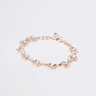 River Island Rose gold tone rhinestone circle bracelet