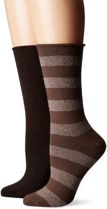 Hue Women's Tweed Stripe Boot Sock 2 Pk