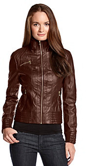 GUESS Crinkle Scuba Knit Collar Faux Leather Jacket