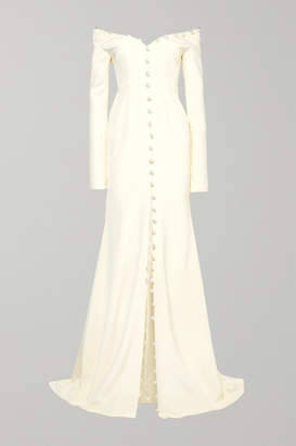 Danielle Frankel - Off-the-shoulder Pearl-embellished Silk-crepe Gown - Ivory