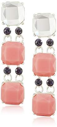 "m. haskell Fashion Jewelry""Tribal Glam"" Coral Multi-Faceted Stone Triple Drop Earrings"