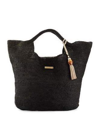 Heidi Klein Grace Bay Raffia Beach Bucket Bag, Black $330 thestylecure.com