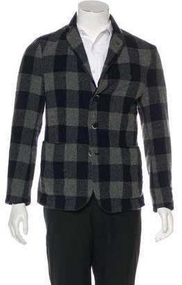 Barena Venezia Wool Plaid Notch-Lapel Cardigan