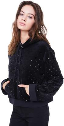Juicy Couture Velour Tonal Crystal Studded Pullover