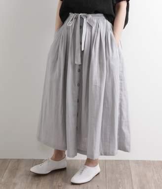 ダブルガーゼピグメントバイオ タックフロントボタンスカート(B・ライトグレー)[SALE]