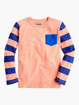 J.Crew crewcuts by Boys' Abbott Striped Sleeve Pocket T-shirt, Ripe Papaya