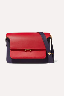 Marni Trunk Small Color-block Leather Shoulder Bag - Red