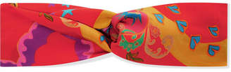 Etro Knotted Printed Silk-satin Headband - Red