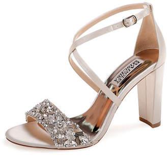 Badgley Mischka Sandra Embellished Satin Cross-Strap Sandals