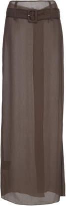 Prada Belted Silk-Chiffon Maxi Skirt