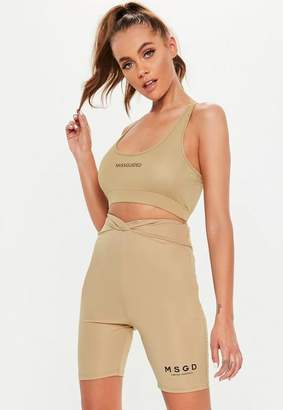Missguided Active Beige V Waist Cycling Shorts, Beige