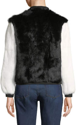 Adrienne Landau Colorblocked Rabbit-Fur Bomber Jacket