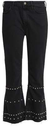 MiH Jeans Marty Studded High-Rise Kick-Flare Jeans