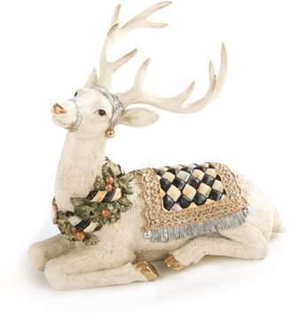 Mackenzie Childs Winter White Resting Stag Figurine