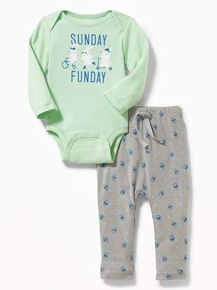 Old Navy Easter-Graphic Bodysuit & Jersey Pants Set for Baby