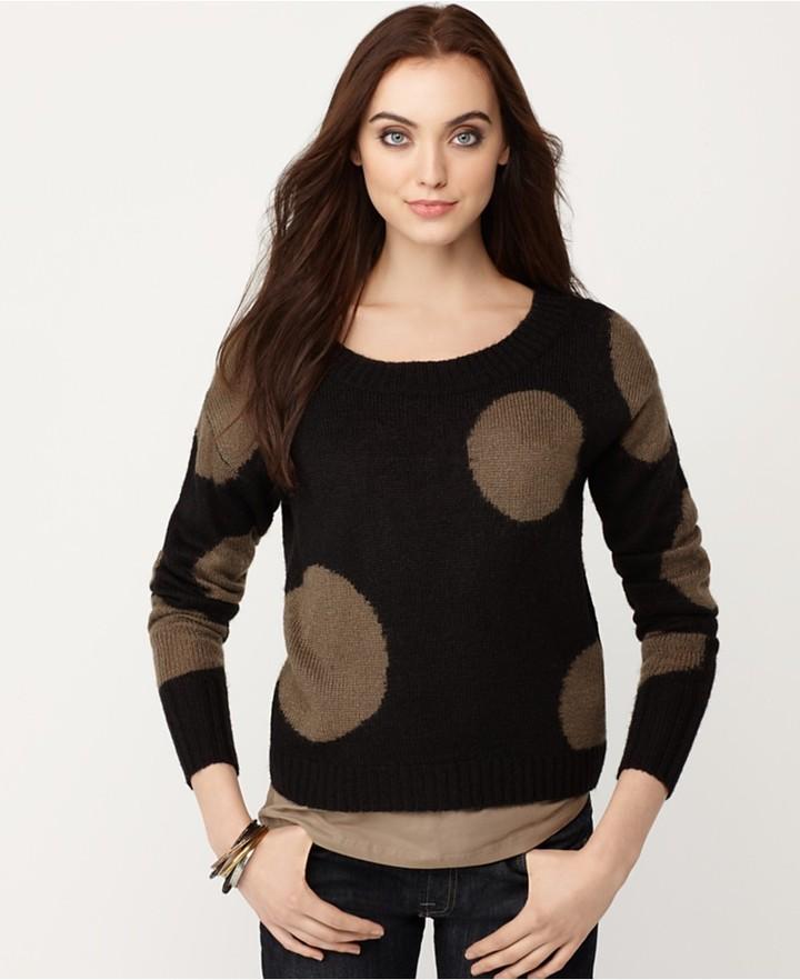 Kensie Sweater, Scoop Neck Long Sleeve Polka Dot Top