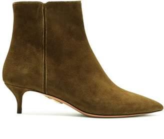 Aquazzura Quant Point Toe Suede Ankle Boots - Womens - Khaki