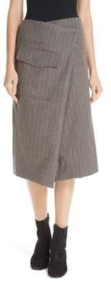 Sea Noemie Pinstripe Wrap A-Line Skirt
