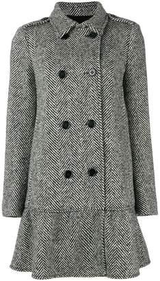 RED Valentino double breasted herringbone coat