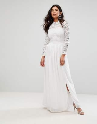 Club L High Neck Crochet Maxi Dress